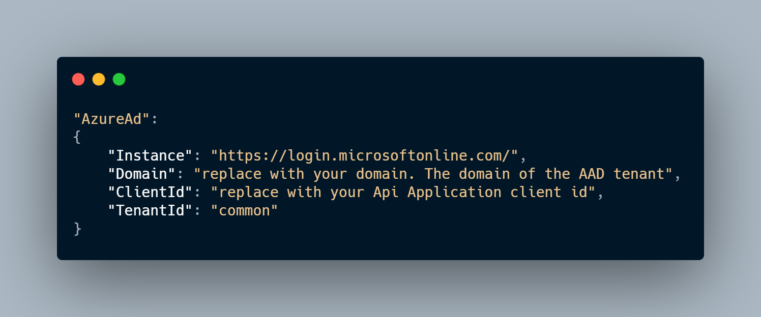 Adding AzureAd Section to appsettings.json