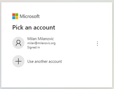 Selecting Microsoft Account