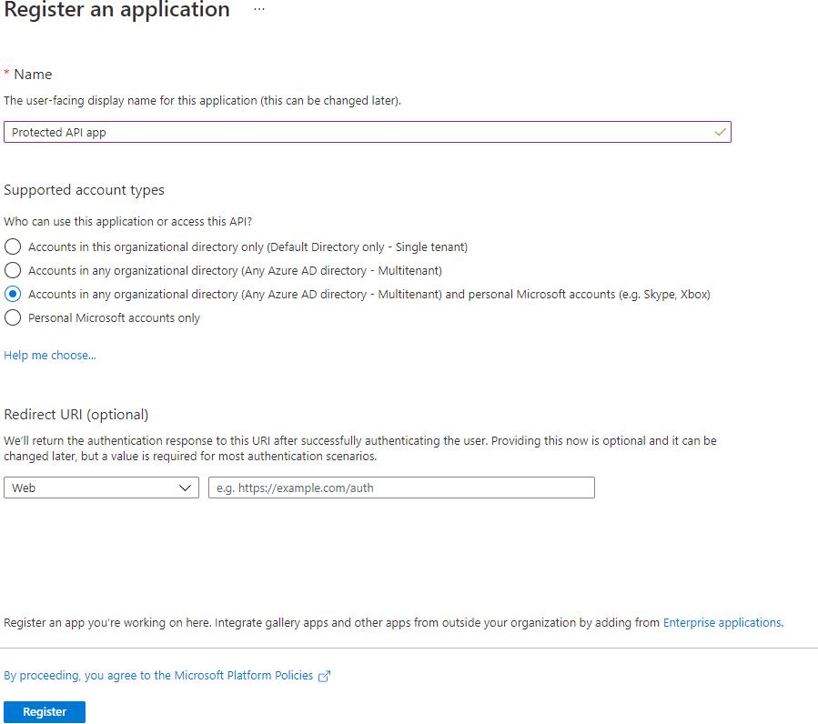 Registering an API Application